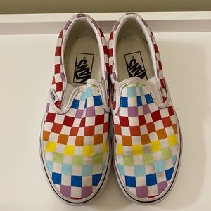 Vans Shoes Rainbow Checkered Slip-Ons